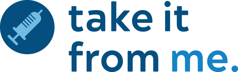 Logo for Take it From Me with image of a shot